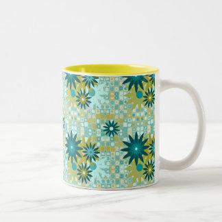 Summer Flowers on Retro 11 oz Two-Tone Mug