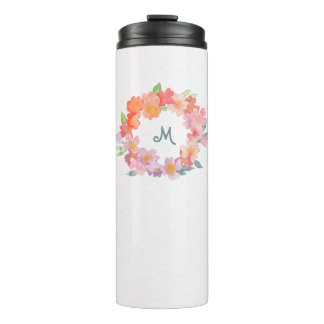 Summer Flowers on Watercolor Paper Look Thermal Tumbler