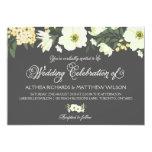 Summer Flowers Wedding Invitation   Yellow & Grey