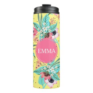 Summer Flowers Yellow Personalised Thermal Tumbler
