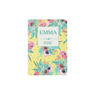 Summer Flowers Yellow Personalized Passport Holder