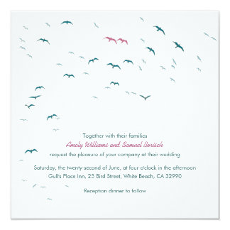 Summer Flying Gulls Lovely Modern Wedding Invite