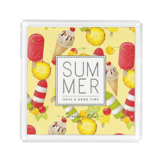 Summer Fruits and Ice-Cream Fun Acrylic Tray
