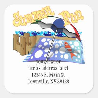 Summer Fun at the Beach Square Sticker