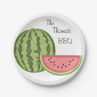 Summer Fun, BBQ, Watermelon, Personalized, Paper Plate