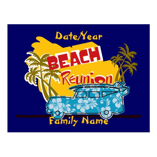 Summer Fun Beach  Family Reunion Postcard