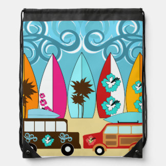 Summer Fun Beach Surfboards Hippie Vans Cinch Bag Rucksacks
