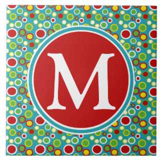 Summer Fun Bubbles Monogram Tile