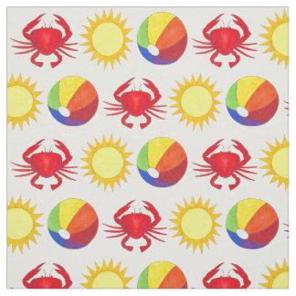 Summer Fun Crab Beachball Sunshine Beach Fabric
