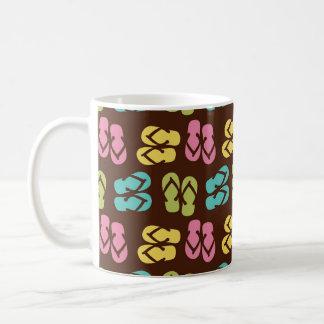 Summer fun dark flip flop sandal slipper pattern basic white mug