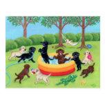 Summer Fun Labradors Painting Postcard