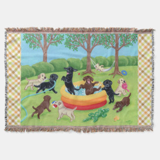 Summer Fun Labradors Painting Throw Blanket