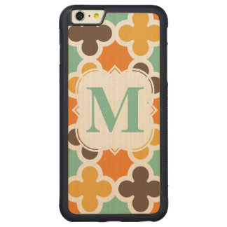 Summer Fun Monogram Retro Quatrefoil Pattern Carved Maple iPhone 6 Plus Bumper Case