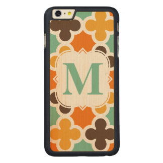 Summer Fun Monogram Retro Quatrefoil Pattern Carved Maple iPhone 6 Plus Case