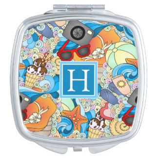 Summer Fun Pattern   Add Your Initial Compact Mirror