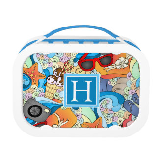 Summer Fun Pattern | Add Your Initial Lunch Box