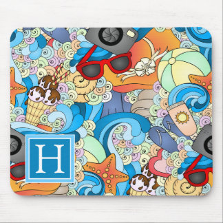 Summer Fun Pattern | Add Your Initial Mouse Mat