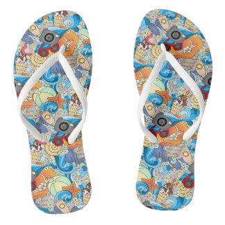 Summer Fun Pattern Flip Flops