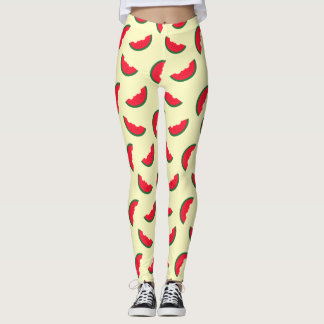 Summer Fun Red Watermelon Yellow Pattern Leggings