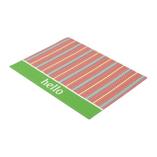 Summer Fun Thin Stripes Personalized Doormat