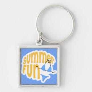Summer Fun with Blue Bikini Silver-Colored Square Key Ring
