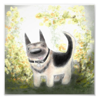 "Summer German Shepherd Pup 8"" x 8"" Print"
