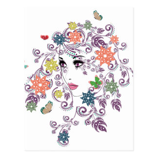 Summer Girl with Floral 6 Postcard