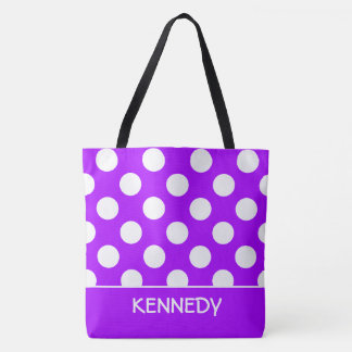 Summer Grape and White Polka Dot Personalized Tote Bag