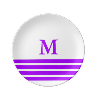 Summer Grape Four Stripe Monogram on White Plate