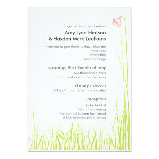 SUmmer Grass and Butterfly Wedding Invitation