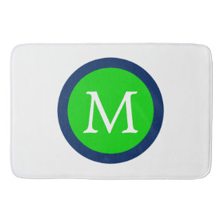 Summer Green and Navy Blue Polka Dot Monogram Bath Mat