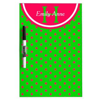 Summer Green and Pink Polka Dot Monogram Dry Erase Board