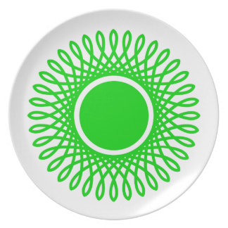 Summer Green Bursts on White Plate