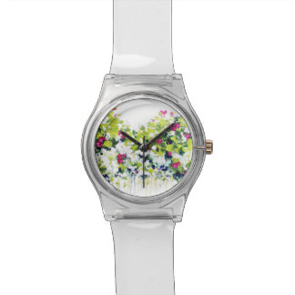 Summer Green Floral Print Watch