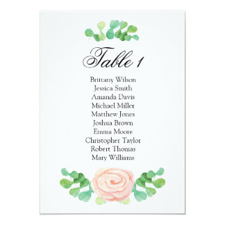 Summer green seating chart. Wedding table plan Card