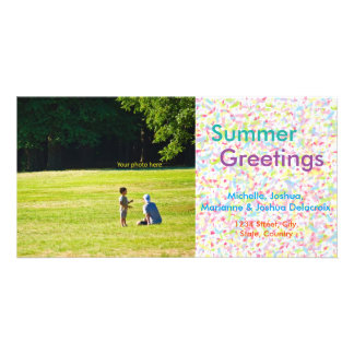 Summer Greetings, summer, the postcard and hot sea Customised Photo Card