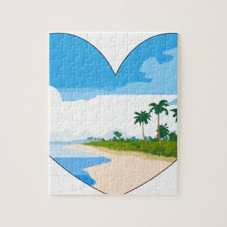 Summer heart sandy beach palm trees sea jigsaw puzzle