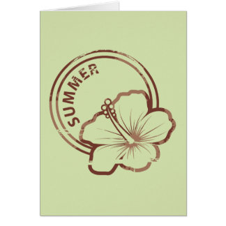 Summer hibiscus rubber stamp greeting card