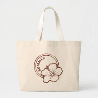 Summer hibiscus rubber stamp jumbo tote bag