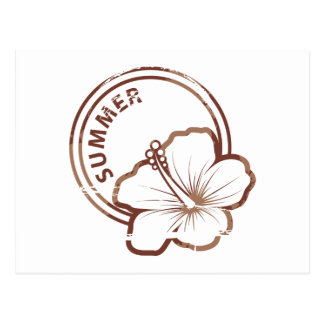 Summer hibiscus rubber stamp postcard