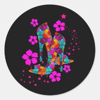 Summer High Heel Shoes Hot Pink Flowers Classic Round Sticker