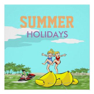Summer Holidays Banana boat group of girls Poster