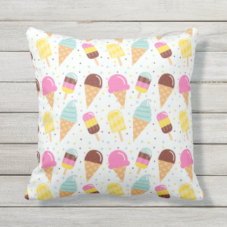 Summer Ice Cream Indoor Outdoor Throw Pillow