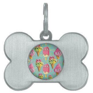 Summer Ice Cream Mix Pet Name Tag