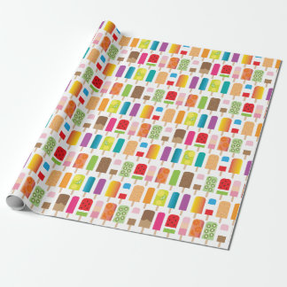 Summer Ice Cream Popsicles Frozen Dessert Treats Wrapping Paper