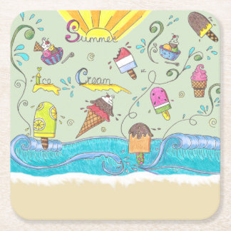 Summer ice creams paper coasters