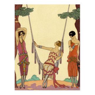 Summer in France Art Deco Postcard