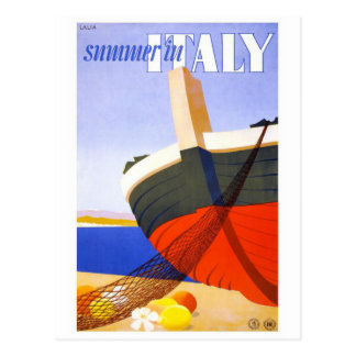 """Summer in Italy"" Vintage Travel Poster Postcard"