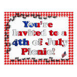 Summer Invitation for 4th of July BBQ Postcard