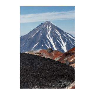 Summer Kamchatka landscape: active crater volcano Acrylic Print